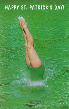 Happy St. Patrick's Day, Woman Diving into Green