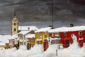 Street in Røros in Winter by Harald Sohlberg