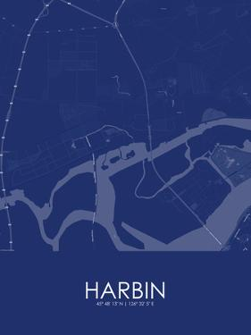 Harbin, China Blue Map