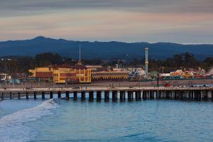 Harbor and Municipal Wharf at Dusk, Santa Cruz, California, USA