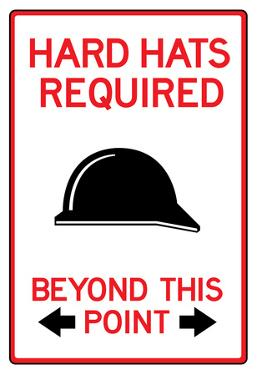 Hard Hats Required Past This Point Sign Poster
