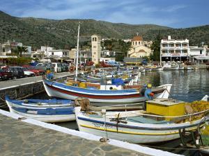 Fishing Boats Moored in the Harbour at Elounda, Near Agios Nikolas, Crete, Greece, Europe by Harding Robert