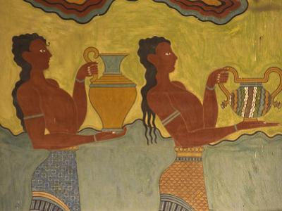 Fresco Detail, Knossos, Crete, Greece, Europe by Harding Robert