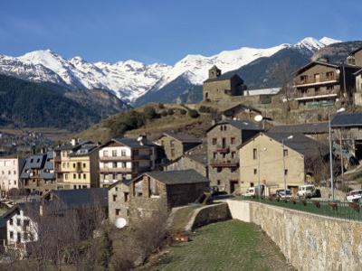 Village of Anyos with the Arcalis Mountains Beyond in Andorra, Europe