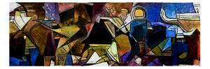 Panoramic Abstract Geometric Painting in the Style of Picasso. Oil on Canvas with Elements of Paste by Hare Krishna
