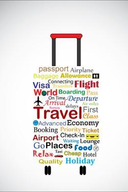 The Universal Travel Bag Concept Illustration Using The Most Used Travel Terminologies In The Shape by Harisha
