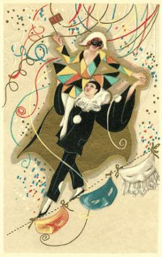 Harlequin and Pierrot with Confetti