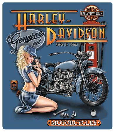 Harley Davidson Mechanic Babe Embossed