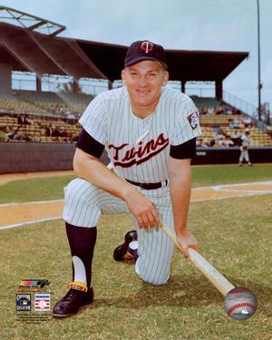 Harmon Killebrew #3 of the Minnesota Twins posed with bat