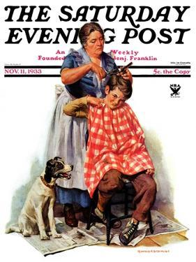 """Kitchen Haircut,"" Saturday Evening Post Cover, November 11, 1933 by Harold Anderson"