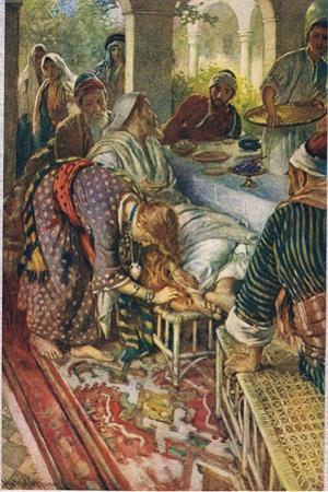 The Woman with the Box of Ointment, Illustration from 'Women of the Bible', Published by the… by Harold Copping