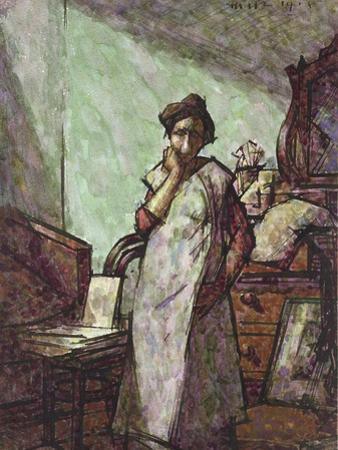 Interior with Mrs Mounter in an Overall, 1 December 1918 (Pen and Black Ink and Watercolour)
