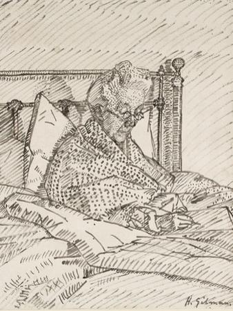 Portrait of the Artist's Mother Writing in Bed (Reed Pen and Grey Ink over Indications in Red Chalk