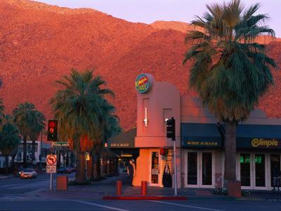 Sunset on Downtown Street, Palm Springs, CA