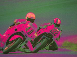 Two People Racing Motorcycles by Harold Wilion