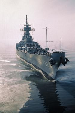 Aerial View of USS New Jersey Entering Bay by Harold Wise