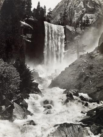 Vernal Falls Plunges to the Rock Gorged Merced River by Harriet Chalmers Adams