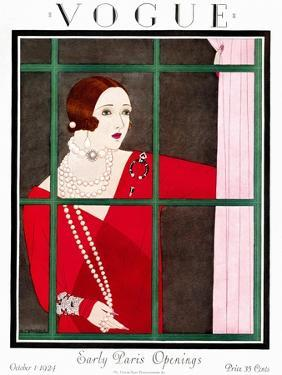 Vogue Cover - October 1924 by Harriet Meserole
