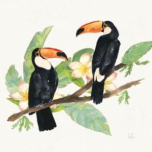 Tropical Fun Bird I Leaves by Harriet Sussman