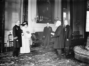Captain Rostron of the Carpathia is presented with the American Cross of Honour, 1913 by Harris & Ewing