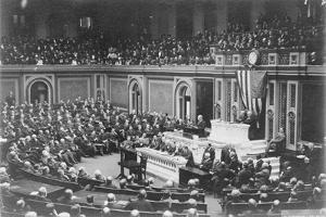 President Woodrow Wilson addressing Congress, c.1917 by Harris & Ewing