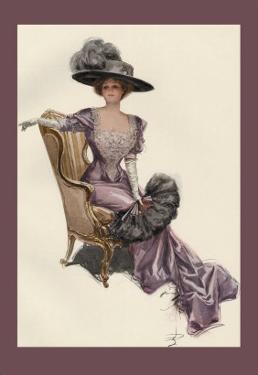Woman with Ostrich Fan by Harrison Fisher