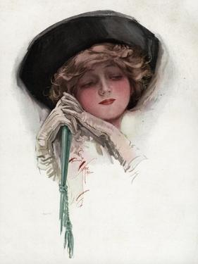 Woman with White Wrist Gloves by Harrison Fisher