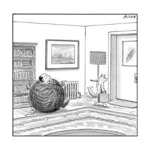 A man is stuck in a yarn ball and his cat leaves the room holding a briefc - New Yorker Cartoon by Harry Bliss