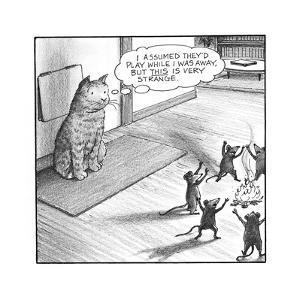 Cat watching mice - Cartoon by Harry Bliss