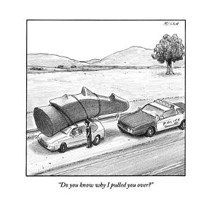 """Do you know why I pulled you over?"" - New Yorker Cartoon by Harry Bliss"