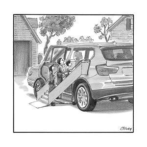 Family entering their SUV with the aid of a large airline style wheel-up r? - New Yorker Cartoon by Harry Bliss