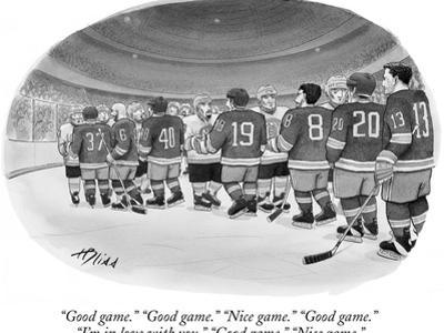 """Good game."" ""Good game."" ""Nice game."" ""Good game."" ""I'm in love with you.…"" - New Yorker Cartoon by Harry Bliss"