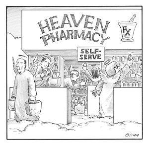 Heaven Pharmacy features angels loading up on medications. - New Yorker Cartoon by Harry Bliss