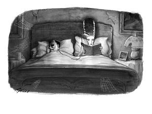 The bride of Frankenstein reading a book in bed with a book light plugged … - New Yorker Cartoon by Harry Bliss