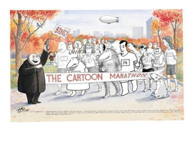 Various New Yorker Cartoon characters in Central Park ready to start the N… - New Yorker Cartoon by Harry Bliss