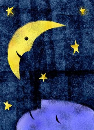 Crescent moon and sleeping man by Harry Briggs