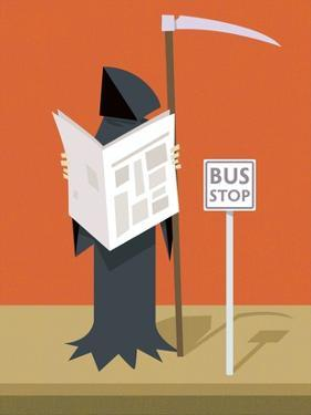 Death waiting at the bus stop by Harry Briggs