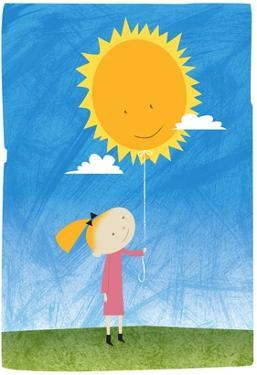 Girl holding a sun balloon by Harry Briggs