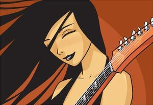 Girl with Guitar by Harry Briggs