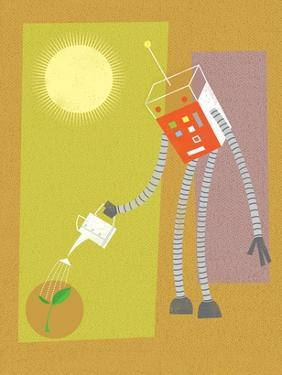 Robot watering a plant by Harry Briggs