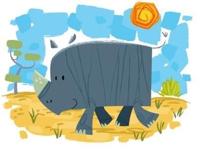 Smiling rhinoceros by Harry Briggs