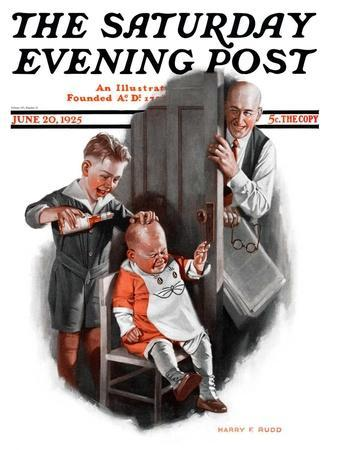 """""""Bald Baby,"""" Saturday Evening Post Cover, June 20, 1925"""