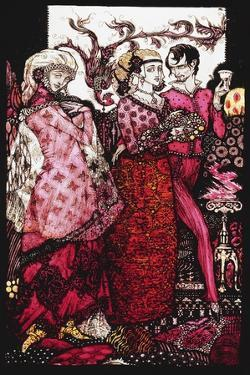 Bert the Bigfoot, Sung by Villon'. 'Queens', Nine Glass Panels Acided, Stained and Painted,… by Harry Clarke