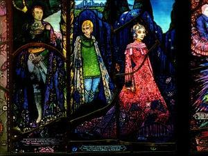 Detail from the Geneva Window Showing 'The Dreamers' by Lennox Robinson (1886-1958) by Harry Clarke