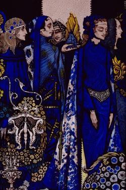 """Etain, Helen, Maeve and Fand, Golden Deirdre's Tender Hand"" Illustration by Harry Clarke from… by Harry Clarke"