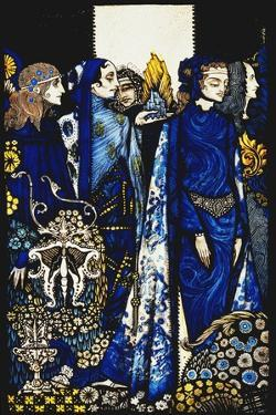 Etain, Helen, Maeve and Fand, Golden Deirdre's Tender Hand'. 'Queens', Nine Glass Panels Acided,… by Harry Clarke