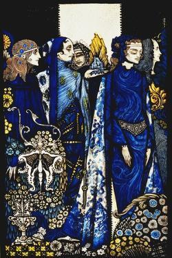 Etain, Helen, Maeve and Fand, Golden Deirdre's Tender Hand'. 'Queens', Nine Glass Panels Acided,… by Harry Clarke