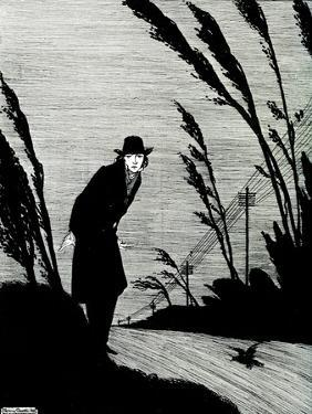 'Midst of all was a cold white face' by Harry Clarke