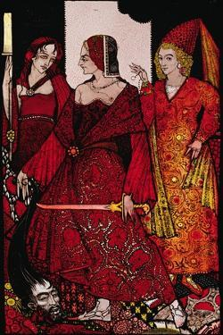 """Queens Who Cut the Hogs of Glanna..."" Illustration by Harry Clarke from 'Queens' by J.M. Synge by Harry Clarke"