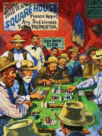 Cowboys Playing Faro in a Saloon